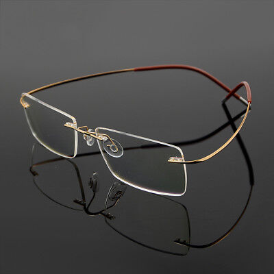 Men's Flexible Optical Eyeglass Frame Eyewear Glasses β-Titanium Rimless RX able