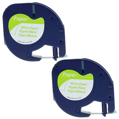 2PK LT 91330 Compatible for DYMO LetraTag Tape White Paper Label Tape 12mm 1/2''