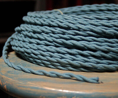 Slate Blue Twisted Cloth Covered Wire, Vintage Braided Lamp Cord, Antique Lights