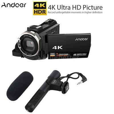 Andoer WiFi 4K 1080P 48MP Digital Video Camera Camcorder DV Recorder Microphone