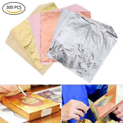 300 Packs Gilding Foil Imitation Gold Leaf, Silver Leaf, Rose Gold Leaf for Art