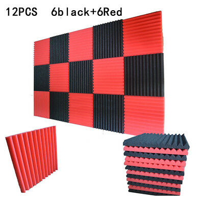 """12x Black+Red Acoustic Wedge Studio Soundproofing Foam Wall Tiles 12"""" X 12"""" X 1"""""""