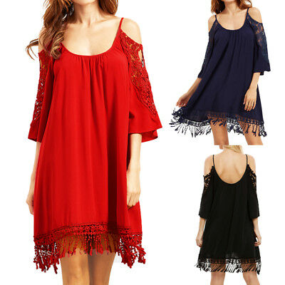 ZANZEA 8-24 Women Summer Cold Shoulder Sundress Lace Short Mini Club Party Dress