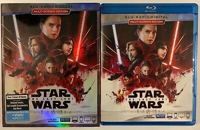 Disney Star Wars The Last Jedi Blu Ray 2 Disc Set + Slipcover Sleeve Free Shipin