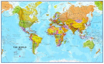 "025 World Map - National Geographic Retro Map of the World 22""x14"" Poster"