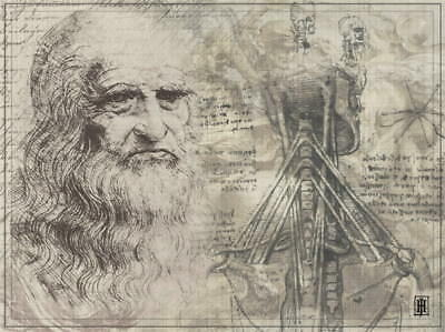 "036 Blueprint - Da Vinci Notebook 32""x24"" Poster"