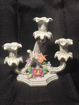 Carl Thieme Dresden Candle Holder Porcelain Candelabra Dresden Flowers