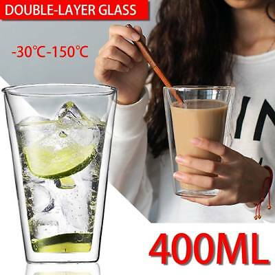 400ml Double Walled Glass Cup Heat-resistant Coffee Tea Thermal Insulation Mug