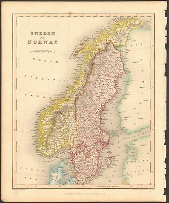 1840 ca ANTIQUE MAP - SWEDEN AND NORWAY
