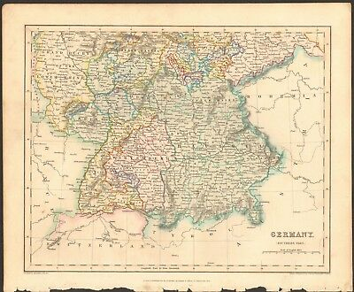 1840 ca ANTIQUE MAP - GERMANY, SOUTHERN PART