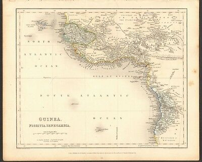 1840 ca ANTIQUE MAP - WEST AFRICA - GUINEA, NIGRITIA, SENEGAMBIA