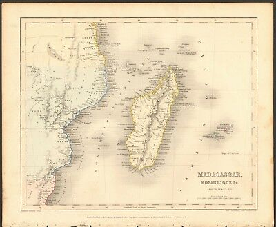 1840 ca ANTIQUE MAP - AFRICA - MADAGASCAR, MOZAMBIQUE & c