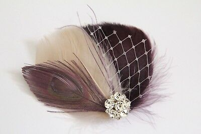 Wedding Champagne Plum Purple Eggplant Feather Fascinator Rhinestone Hair Clip