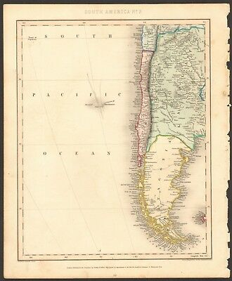 1840 ca ANTIQUE MAP - SOUTH AMERICA, PATAGONIA, LA PLATA, CHILE
