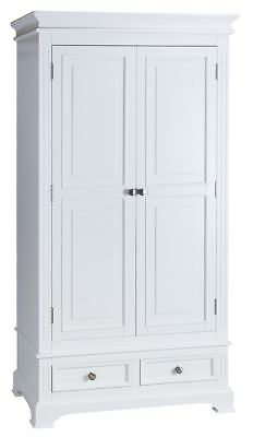 Burford French Style Painted White Double Wardrobe With Drawers