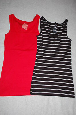 64961454db0cd WOMENS 2 LOT RIBBED TANK TOPS Solid Color BLACK   WHITE Rue 21 Brand ...