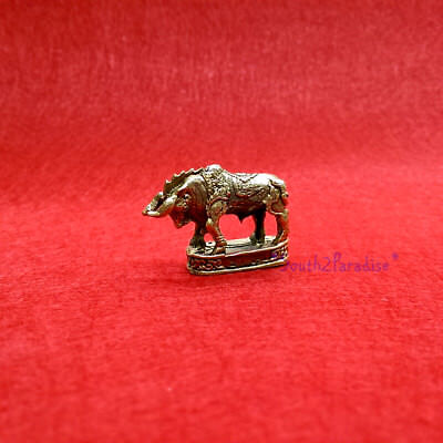 Brass Fighter Bull Statue Miniature Thai Amulet Lucky Power Wealth Mini Figurine