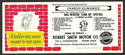 Robert Smith Motor Co. Ink Blotter- Your Downtown Dodge - Plymouth Dealer