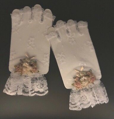 Elegant Flower White Lace Gloves Half Finger