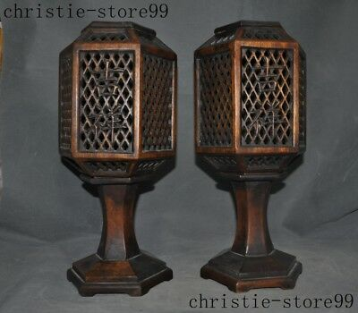 Old China Huanghuali Wood Carved Auspicious Wishful Lampshade Candlestick Holder