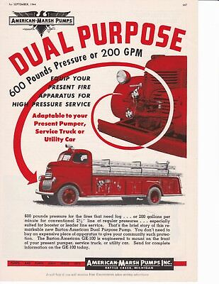 American-Marsh Fire Pump     1944 Ad                                        7251