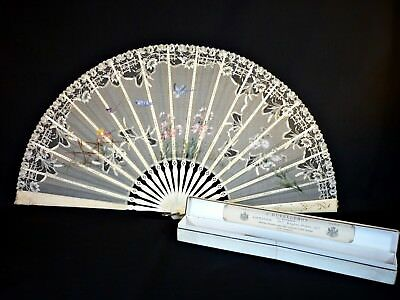 Antique Fan Duvelleroy Fine French Lace Large 19thC Hand Painted (67 cms open)