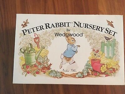 Peter Rabbit Wedgwood China Nursery Set 3 Piece; Plate, Cup And Bowl