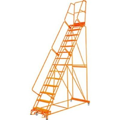 """NEW! Perforated 24""""W 14 Step Steel Rolling Ladder 14""""D Top Step W/Handrail!!"""