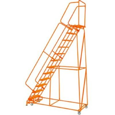"NEW! Perforated 24""W 12 Step Steel Rolling Ladder 21""D Top Step W/Handrails!!"
