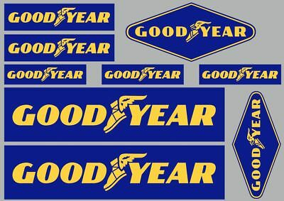 GOODYEAR Decals Quality Stickers Vinyl Graphic Set Logo Adhesive Kit 9 Pcs