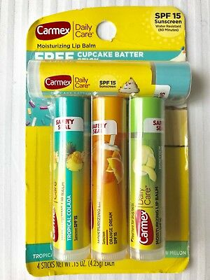 Carmex Sunshine Collection Lip Balm with SPF 15 (Pack of 4 sticks)