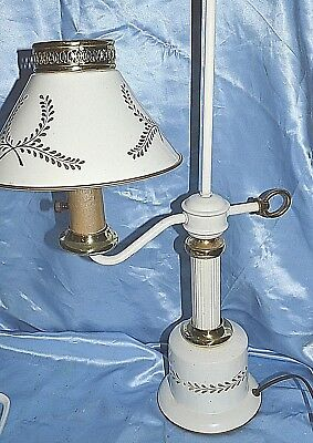 Vintage Lamp METAL WHITE & GOLD TOLEWARE PAINTED SHADE
