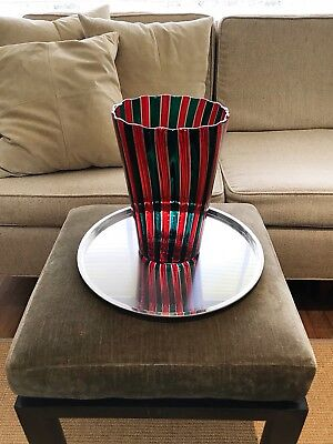 Signed 9 Inch Tall Venini A Canne Red / Green Vase, Gio Ponti Design, 2002