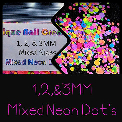 1, 2,& 3MM Mixed Neon DOT Glitter~Nail Art•Acrylic•Gel•Body Art•Festival•Craft