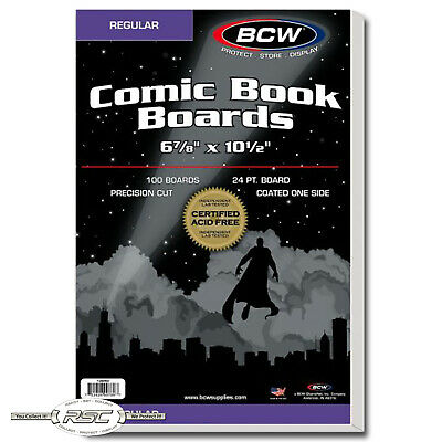 "100 - BCW Regular Size 24-Pt. Comic Book Backing Boards - 6-7/8"" x 10-1/2"""