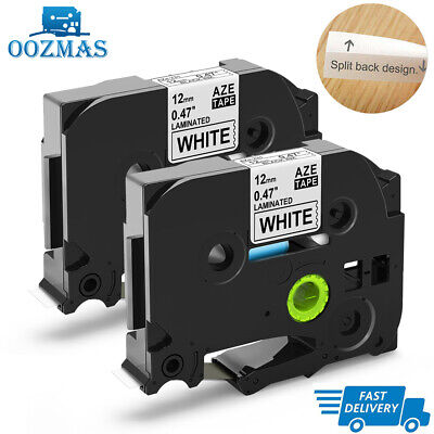 2PK TZe-231 Compatible for Brother P-Touch Black on White Label Tape TZ231 12mm