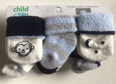 Carters Child Of Mine Newborn Socks Baby Boy 6 pack, Thick warm terry socks
