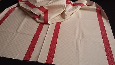 very old ecru/beige linen Cloth for tablecloth or runner with red stripes