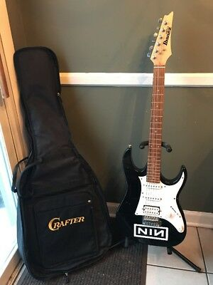 Ibanez Gio Series Electric Guitar Black And White With Soft Case