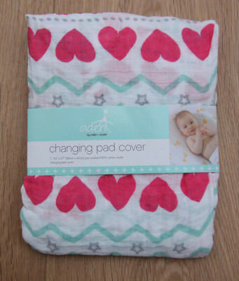 Aden Anais Baby Girl Changing Pad Cover ~ Light Hearted ~ Hearts ~