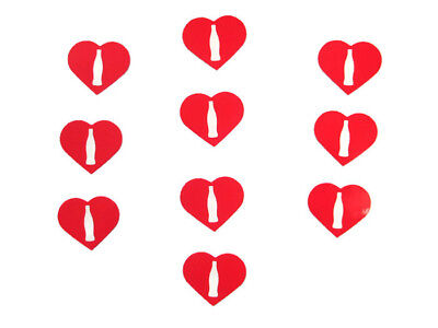 Coca-Cola Set of 10 Heart Shaped Contour Bottle Stickers- BRAND NEW
