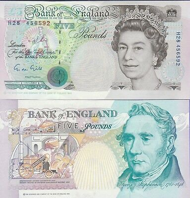 Great Britain 5 Pound's Banknote 1990 Uncirculated Condition Cat#139-A-6592