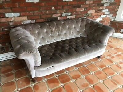 Antique Original Chesterfield Sofa Frame With Grey Upholstery