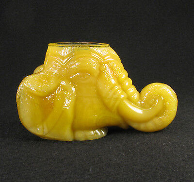 Boyd Glass Apricot Elephant Head Toothpick or Match Holder 1979