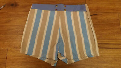 COOL Vtg NOS Youth sz 16 Striped Swimsuit Bathing Suit Acetate/Rubber Blend