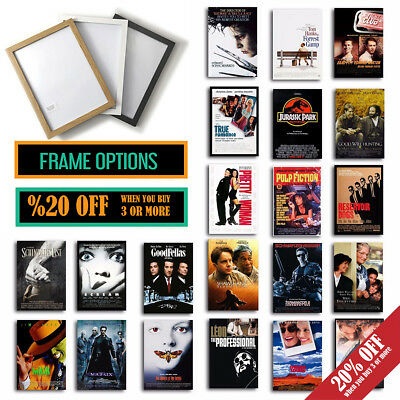 CLASSIC 90s FILM POSTERS Wall Art Print Cult Movies Christmas Gift, A4/A3 FRAMES