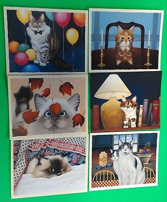 6 Lang Assorted Note Cards Kittens Cats Lowell Herrero 6 x 4-7/8 Inch New