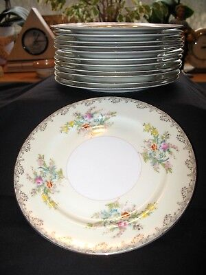 """Vintage Meito China 7 3/4"""" Salad/Sandwich Plate Set of 12 Hand Painted  Japan"""