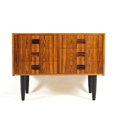 Retro Vintage Danish Modern Rosewood Low Chest of Drawers TV Stand Cabinet 1970s