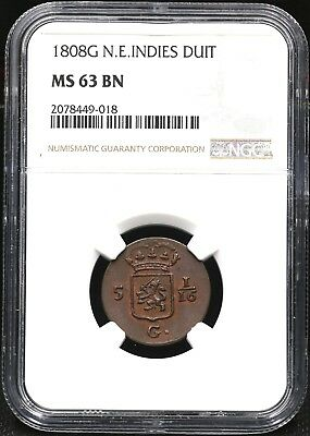 1808 G Ngc Ms-63 Bn One Duit The Netherlands Eat Indies